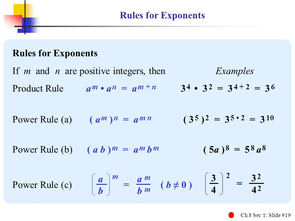 m 2 Rules for Exponents Rules for Exponents