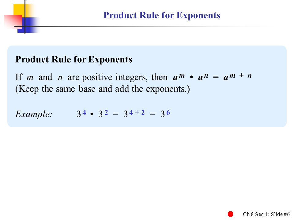 Product Rule for Exponents
