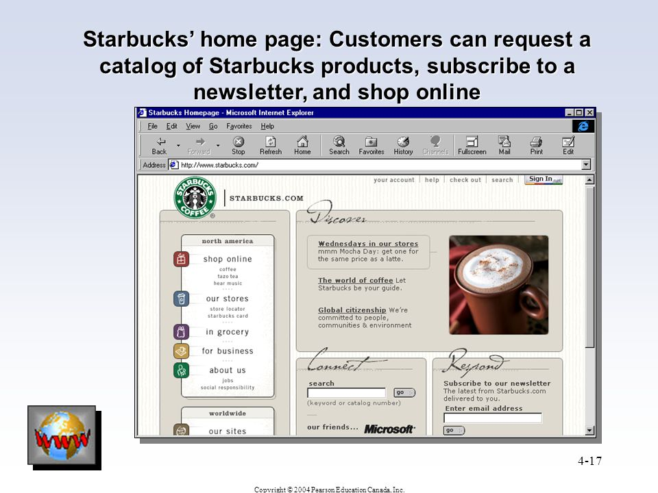 Starbucks' home page: Customers can request a catalog of Starbucks products, subscribe to a newsletter, and shop online