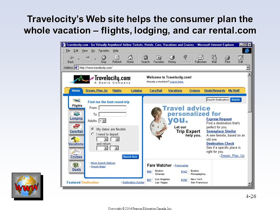 Travelocity's Web site helps the consumer plan the whole vacation – flights, lodging, and car rental.com