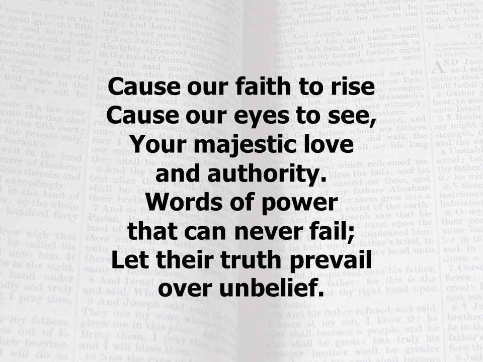 Cause our faith to rise Cause our eyes to see, Your majestic love and authority.