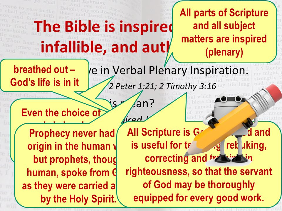 The Bible is inspired, inerrant, infallible, and authoritative!