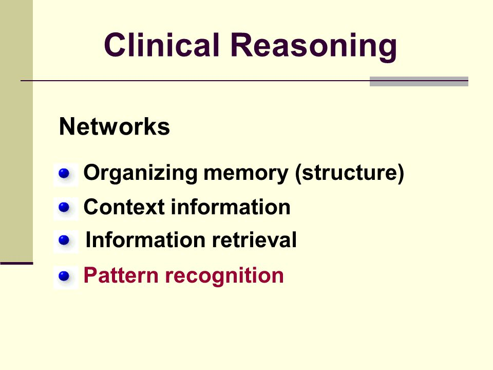 Clinical Reasoning Networks Organizing memory (structure)