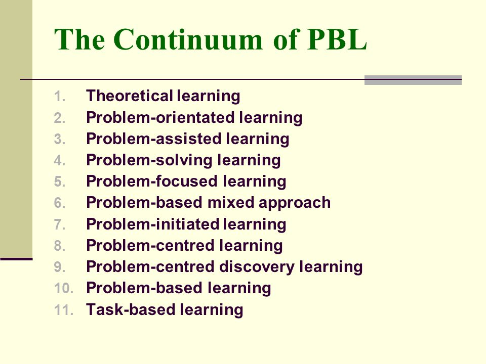 The Continuum of PBL Theoretical learning Problem-orientated learning