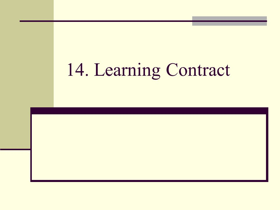 14. Learning Contract
