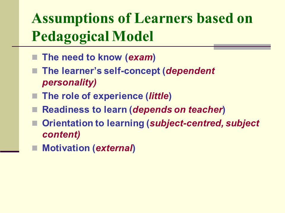 Assumptions of Learners based on Pedagogical Model