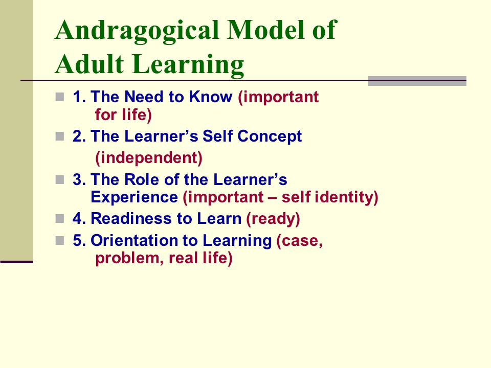 Andragogical Model of Adult Learning