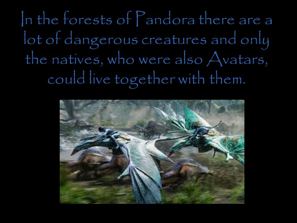 In the forests of Pandora there are a lot of dangerous creatures and only the natives, who were also Avatars, could live together with them.