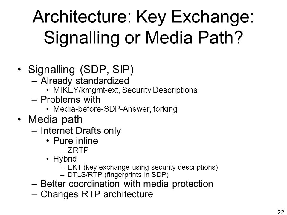 Architecture: Key Exchange: Signalling or Media Path