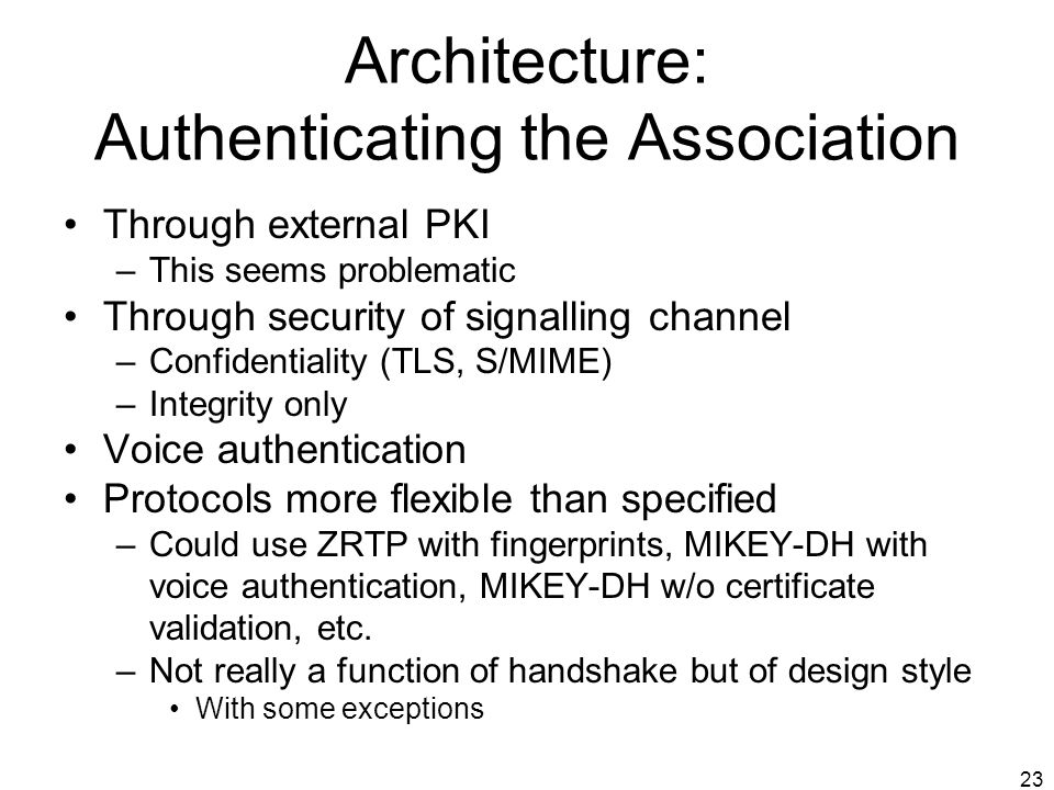 Architecture: Authenticating the Association