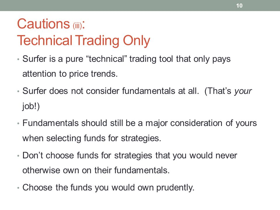 Cautions (iii): Technical Trading Only