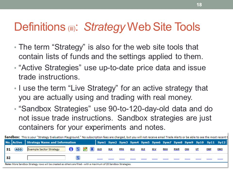 Definitions (iii): Strategy Web Site Tools