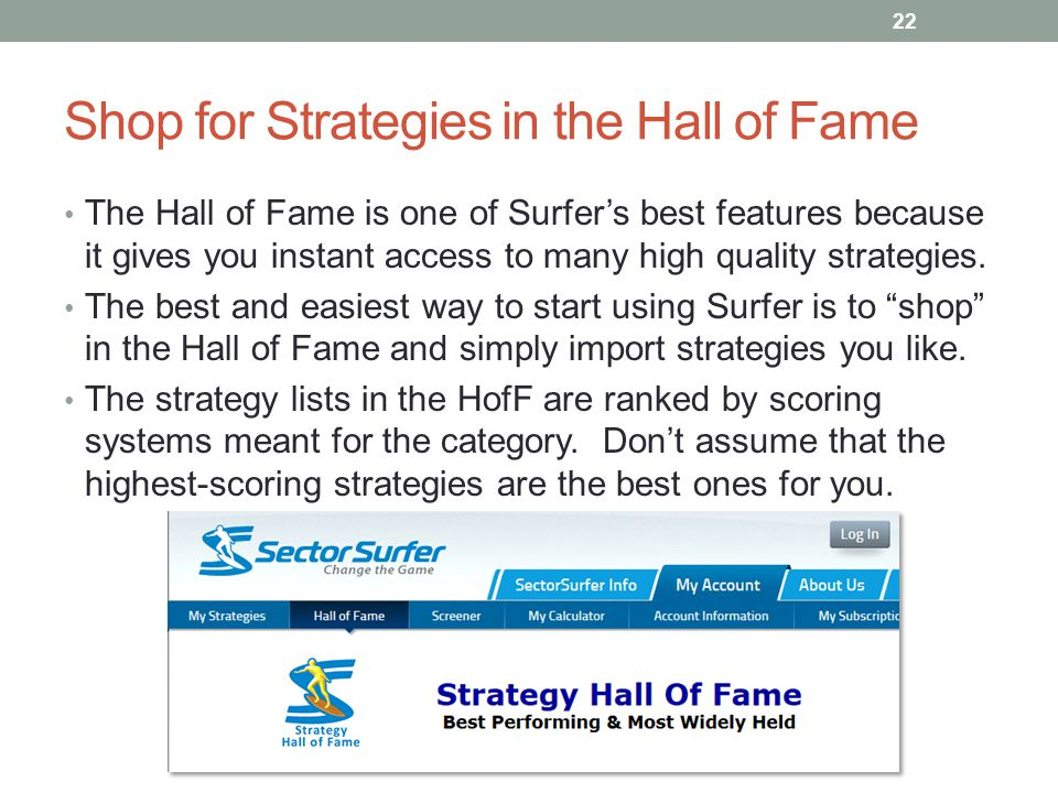 Shop for Strategies in the Hall of Fame