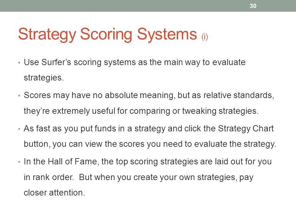 Strategy Scoring Systems (i)