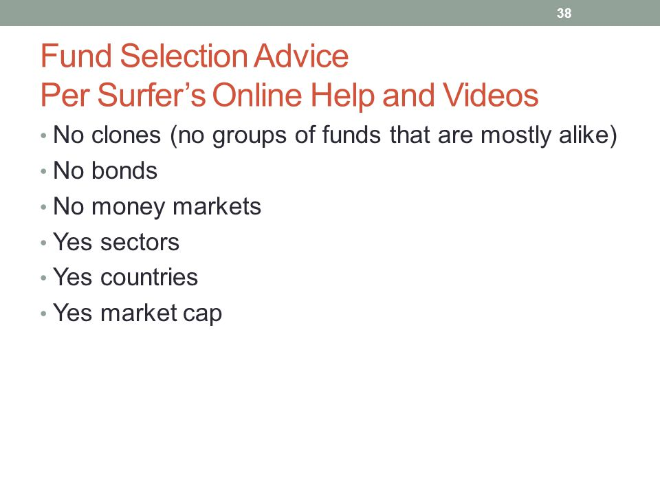 Fund Selection Advice Per Surfer's Online Help and Videos