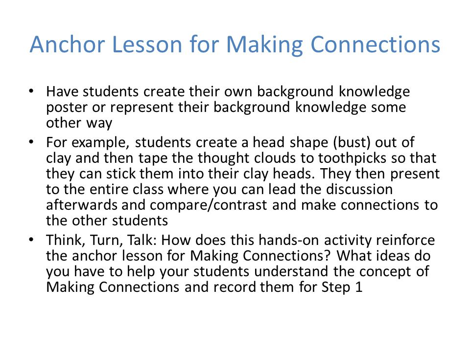 Anchor Lesson for Making Connections