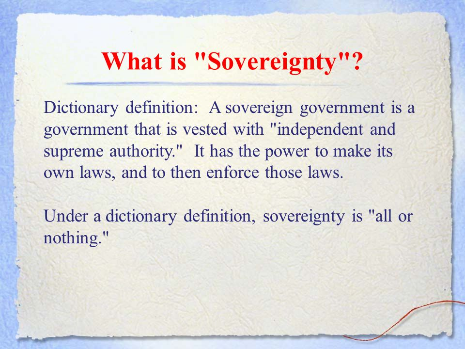 What is Sovereignty