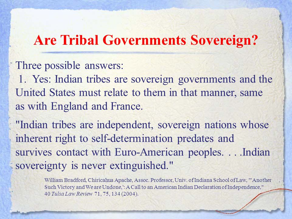 Are Tribal Governments Sovereign