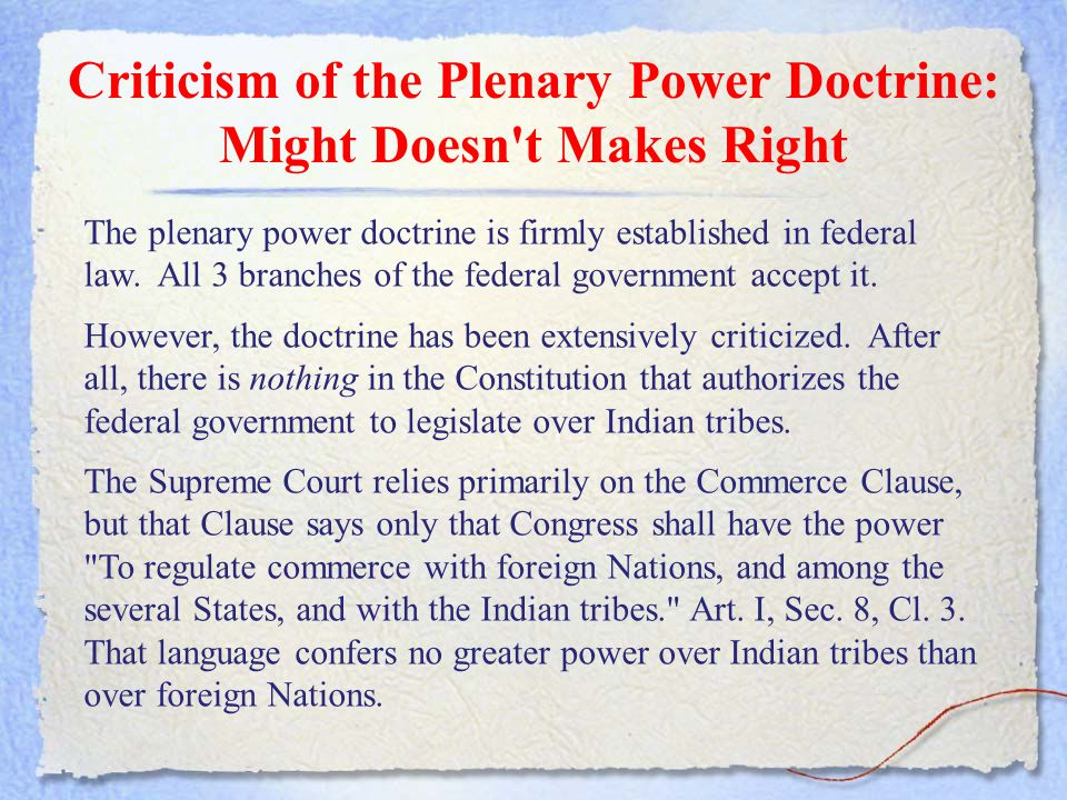 Criticism of the Plenary Power Doctrine: Might Doesn t Makes Right