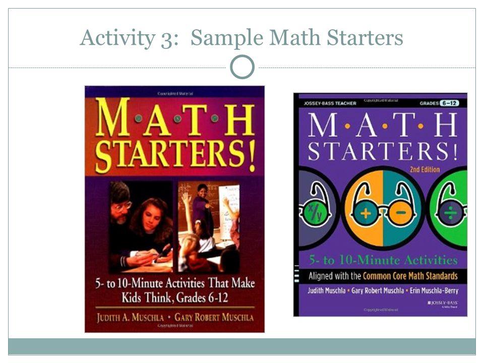 Activity 3: Sample Math Starters