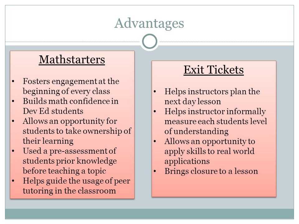 Advantages Mathstarters Exit Tickets