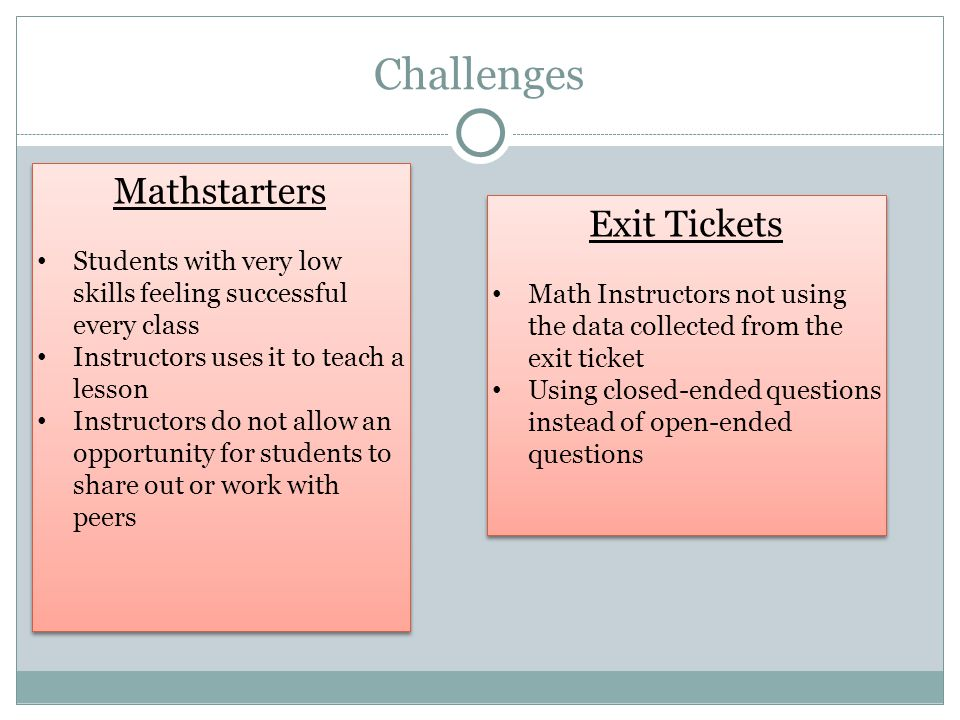 Challenges Mathstarters Exit Tickets