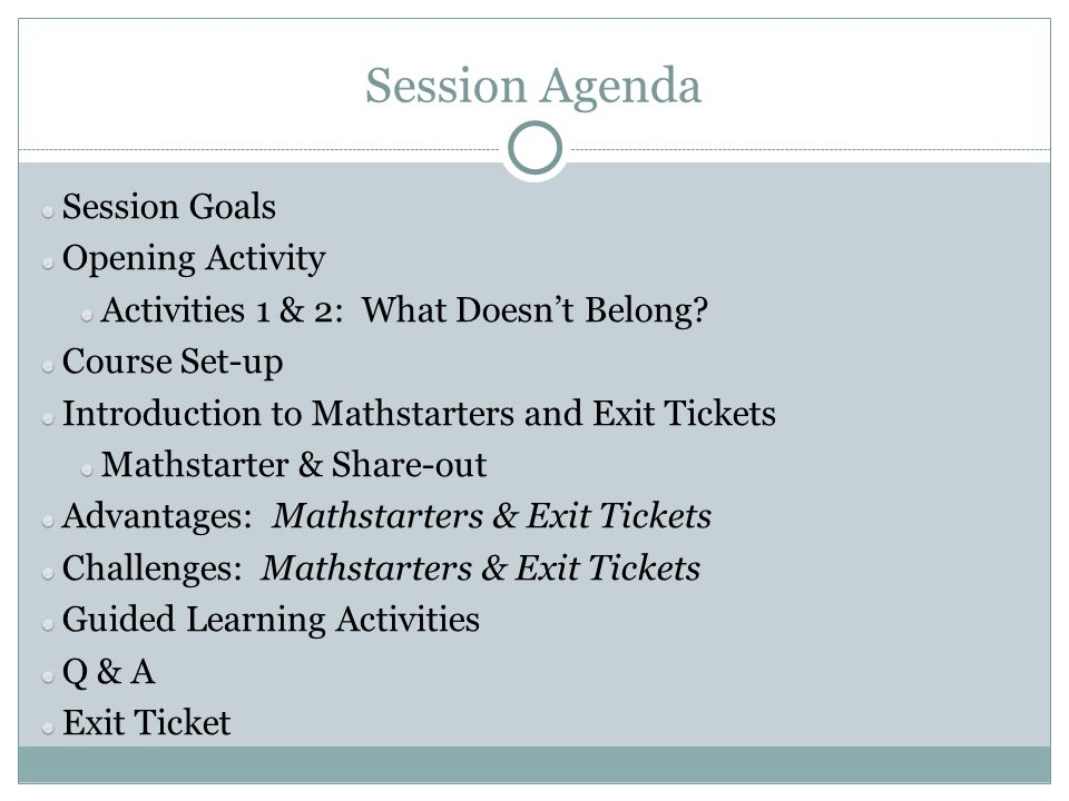Session Agenda Session Goals Opening Activity