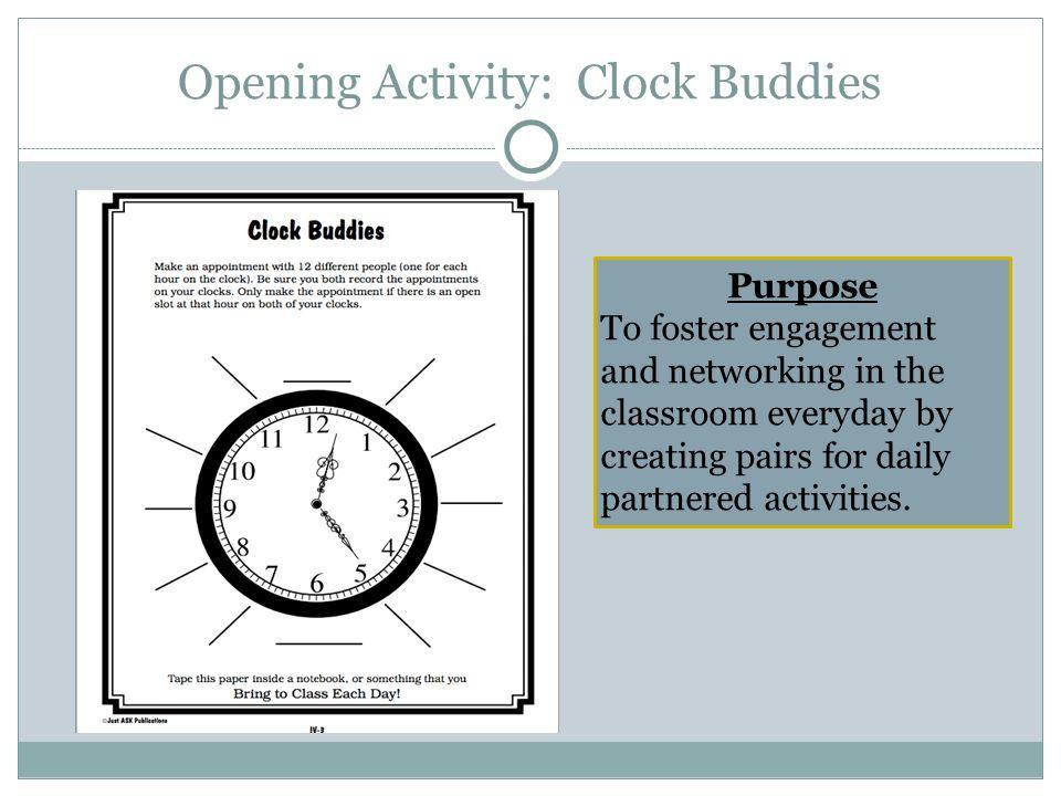 Opening Activity: Clock Buddies