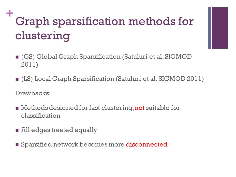 Graph sparsification methods for clustering