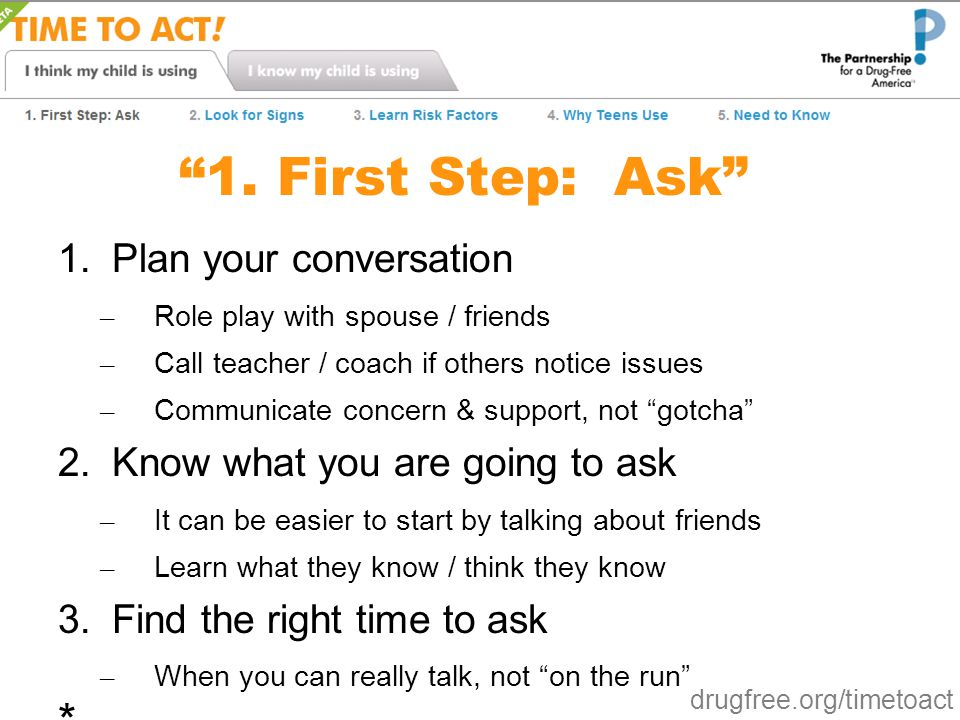 1. First Step: Ask * Plan your conversation