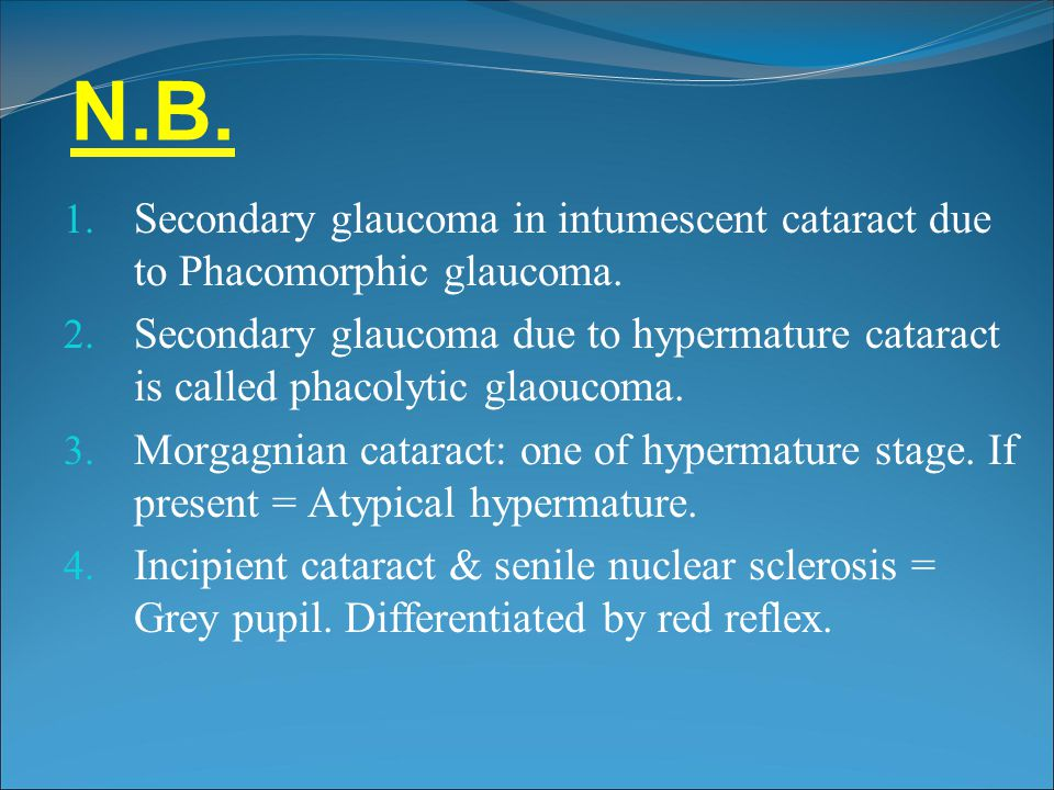 N.B. Secondary glaucoma in intumescent cataract due to Phacomorphic glaucoma.