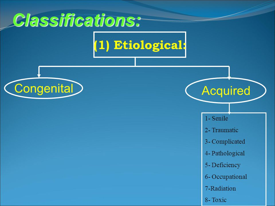 Classifications: (1) Etiological: Congenital Acquired 1- Senile
