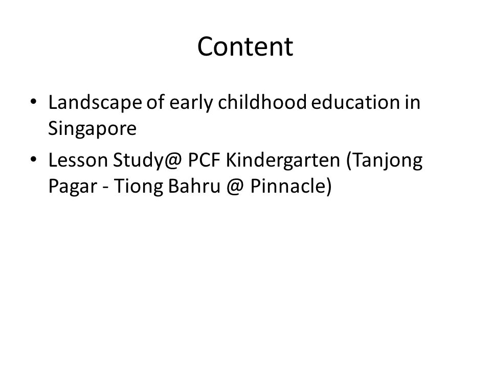 Content Landscape of early childhood education in Singapore