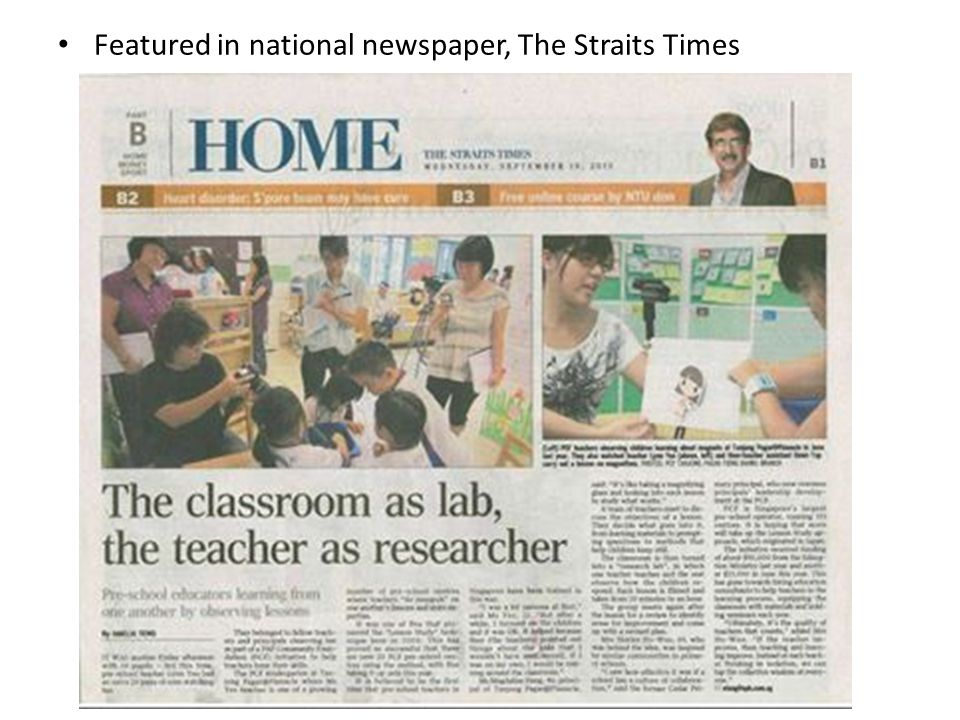 Featured in national newspaper, The Straits Times