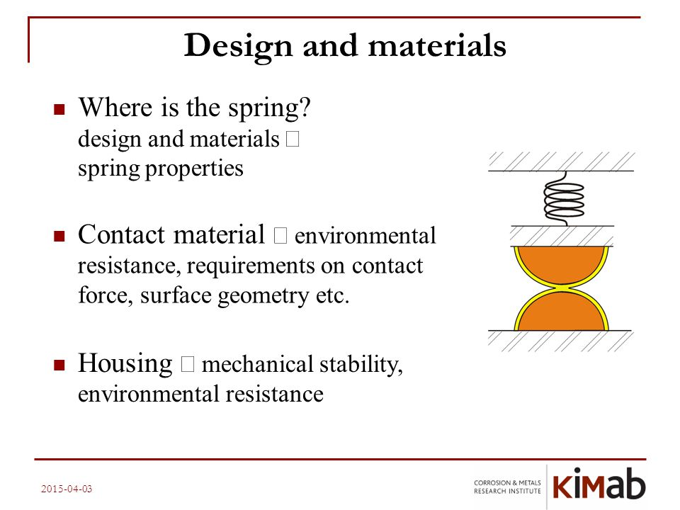 Design and materials Where is the spring design and materials Þ spring properties.