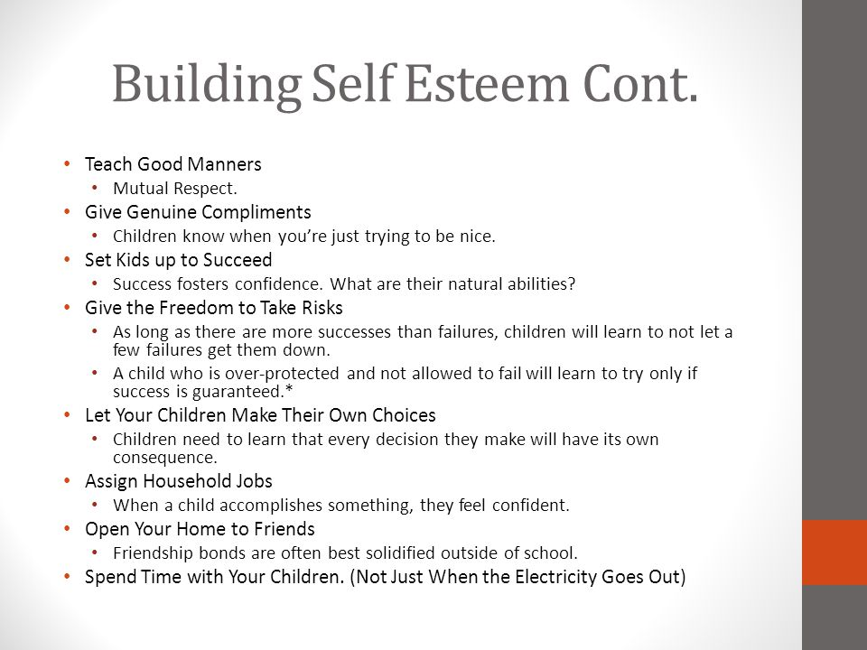 Building Self Esteem Cont.