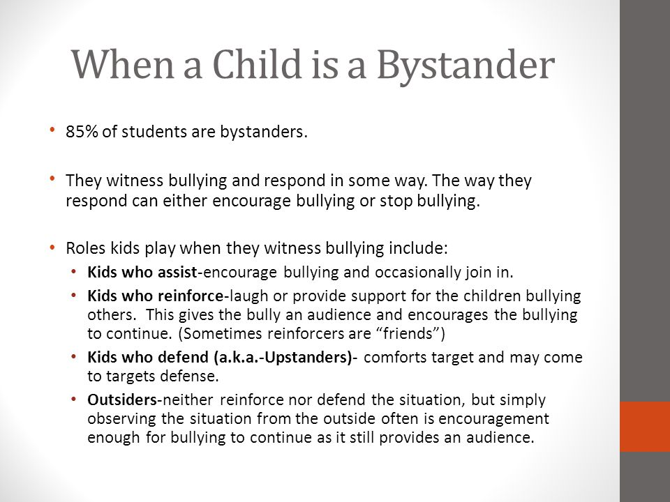 When a Child is a Bystander