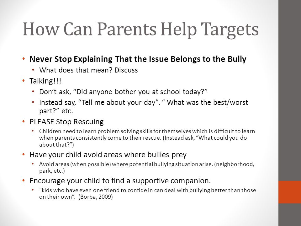 How Can Parents Help Targets
