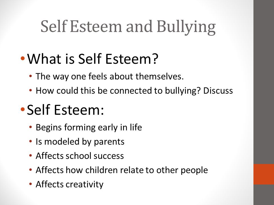 Self Esteem and Bullying