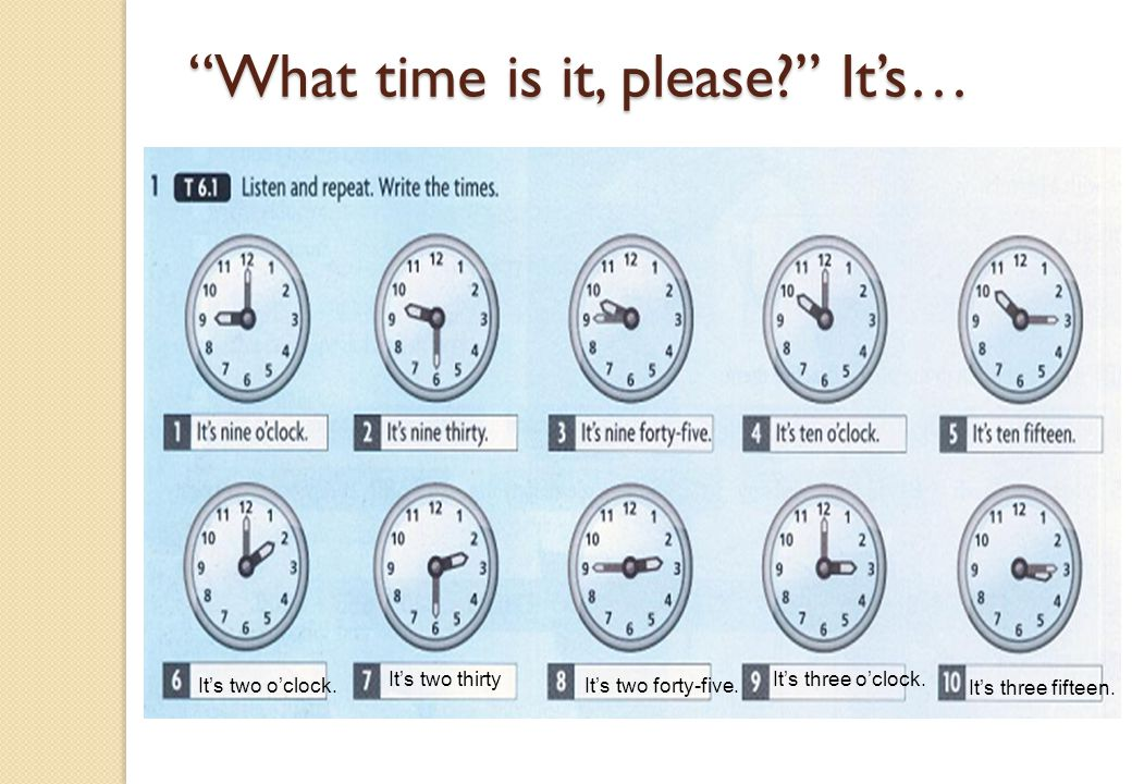 What time is it, please It's…
