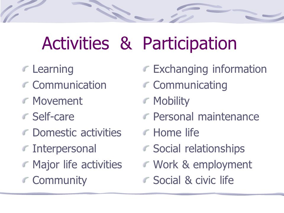 Activities & Participation