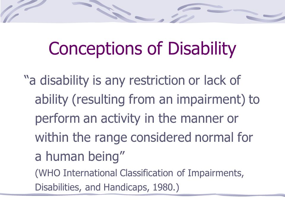 Conceptions of Disability