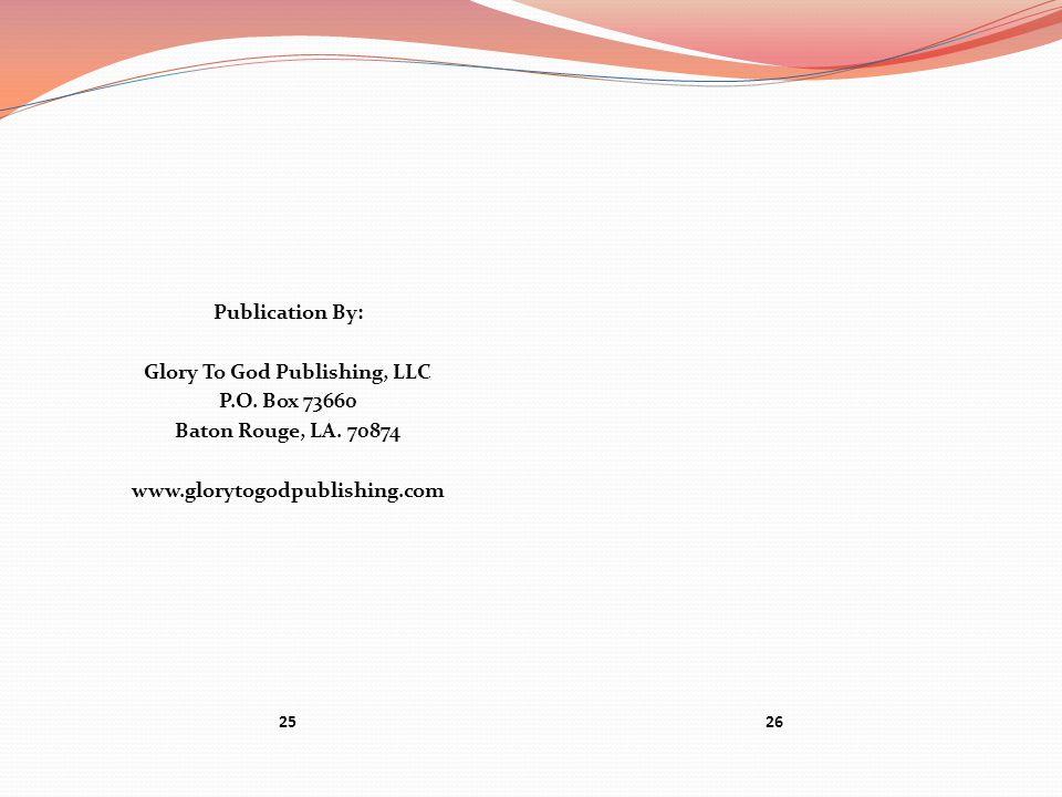 Glory To God Publishing, LLC