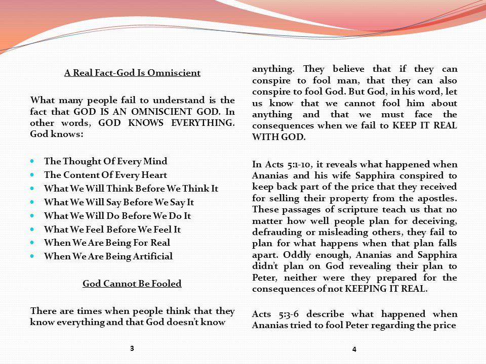 A Real Fact-God Is Omniscient