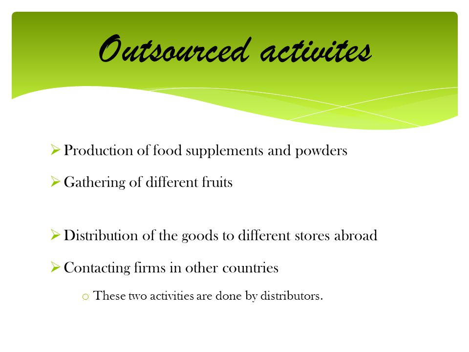 Outsourced activites Production of food supplements and powders