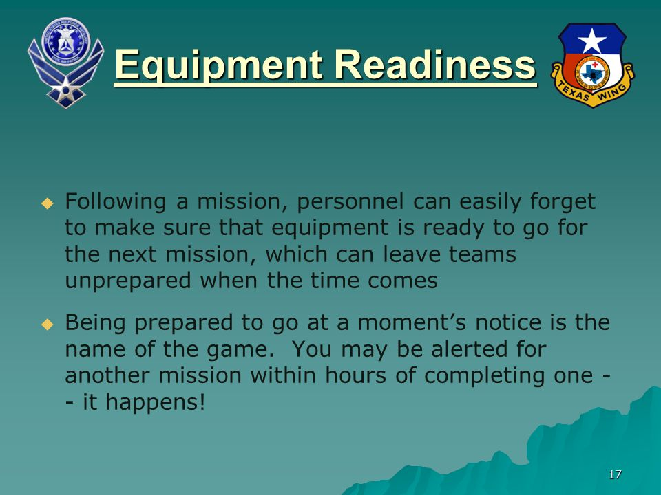 Equipment Readiness
