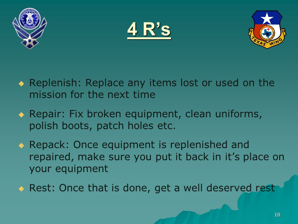 4 R's Replenish: Replace any items lost or used on the mission for the next time.
