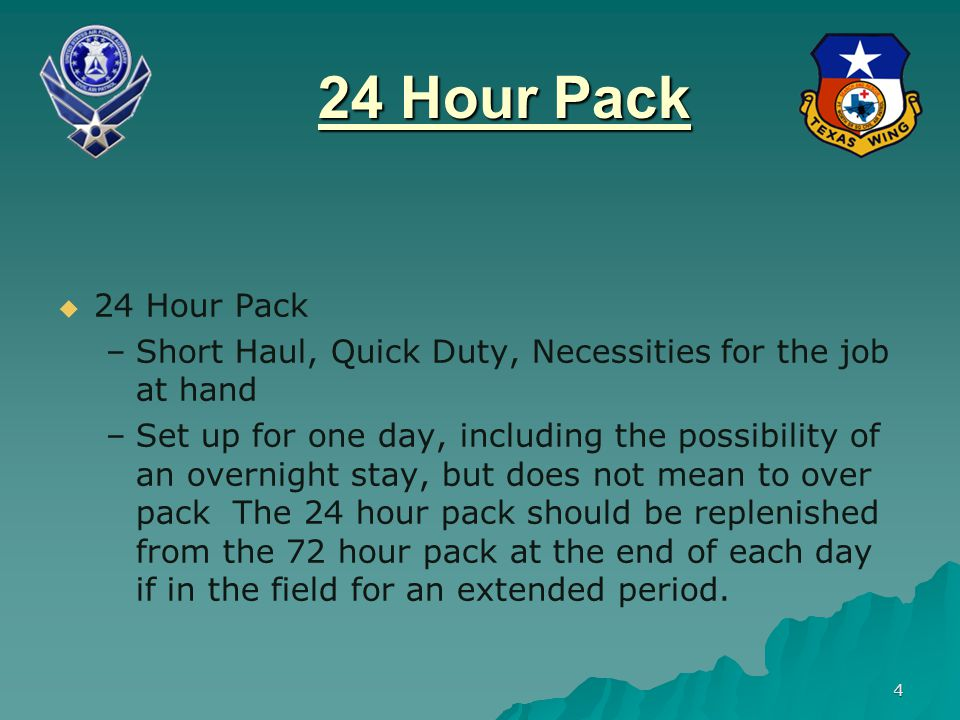 24 Hour Pack 24 Hour Pack. Short Haul, Quick Duty, Necessities for the job at hand.