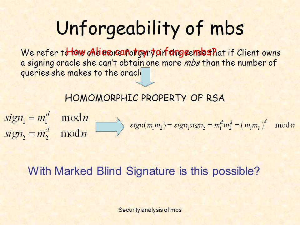 Security analysis of mbs