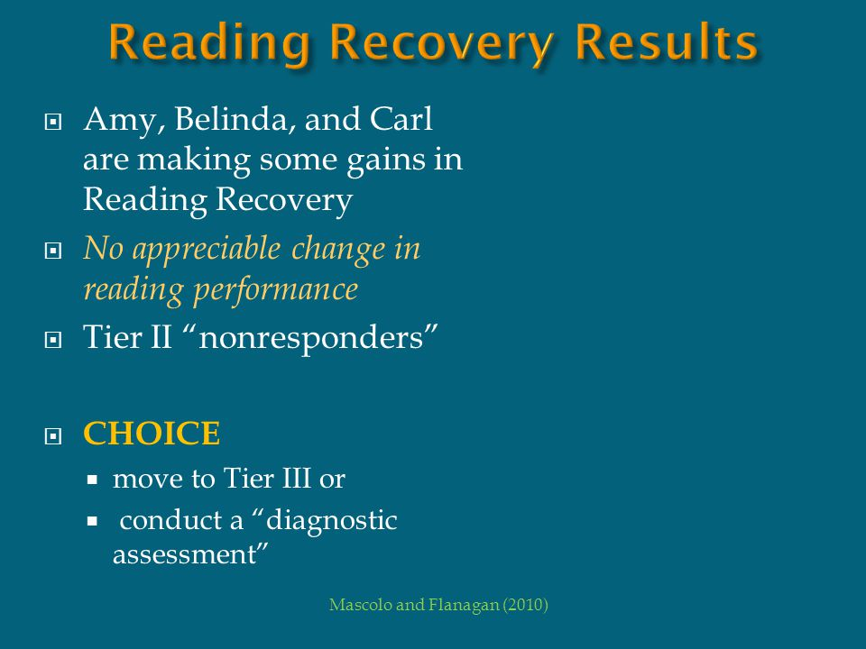 Reading Recovery Results